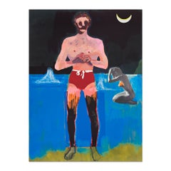 Bather for Secession, Contemporary Painter, British Art, Magical Realism