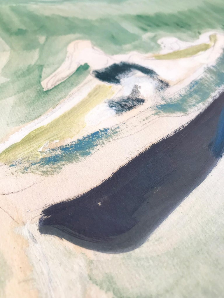 Cyril's Bay, Pigment Print and Silkscreen, Contemporary Art, 21st Century - Gray Landscape Print by Peter Doig