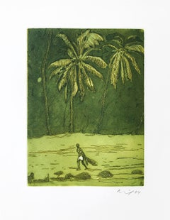 Pelican, from Black Palms, Etching, British Art, Contemporary Art, 21st Century