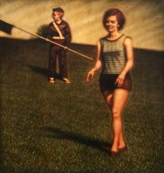 Fix/Lawnmower Omission, humorous vintage pop art figurative acrylic painting