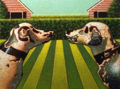 Game On, vintage acrylic pop art genre painting with dogs, 2018