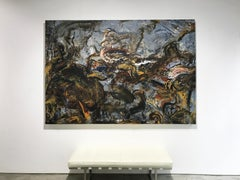 """""""The Deep"""" Large Scale Gestural Abstract Painting by New York Artist, Peter Fox"""