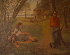 Relaxed Day in the Park - Mid 20th Century Impressionist Oil by Peter Gardner