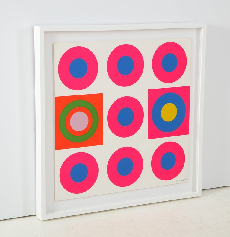 Pop Art screen-print featuring graphic magenta, blue, orange bullseye targets. Signed Peter Gee, 1967. Professionally framed in a white wood frame with glare resistant Plexiglas.