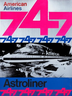 """""""American Airlines 747 Astroliner (handsigned)"""" Original Vintage Aviation Poster"""
