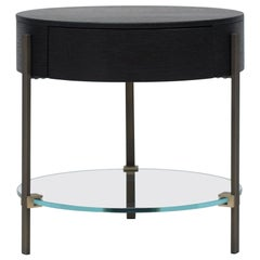 Peter Gfhyczy Side Table Pioneer Alice 'T79L' Brass Aged / Optiwhite / Oak Wengé