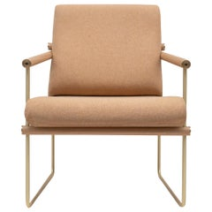 Peter Ghyczy Armchair Safari 'GP05' Brass Matt or Oak or Pale Orange Fabric