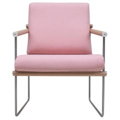 Peter Ghyczy Armchair Safari 'GP05' Steel / Oak Latte / Pink Fabric