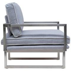 Peter Ghyczy Armchair Urban Brad 'GP01' Stainless Steel Matt / Grey Fabric
