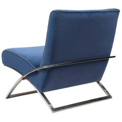 Peter Ghyczy Armchair Urban Wave 'GP03' Stainless Steel Gloss / Blue Fabric
