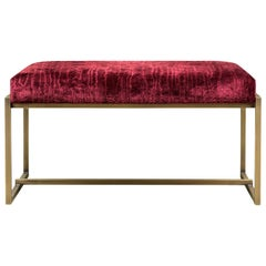 Peter Ghyczy Bench Urban Grace 'GB03' Brass Patinated / Red Fabric