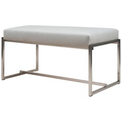 Peter Ghyczy Bench Urban Grace 'GB03' Stainless Steel Matt  / Pale Grey Fabric