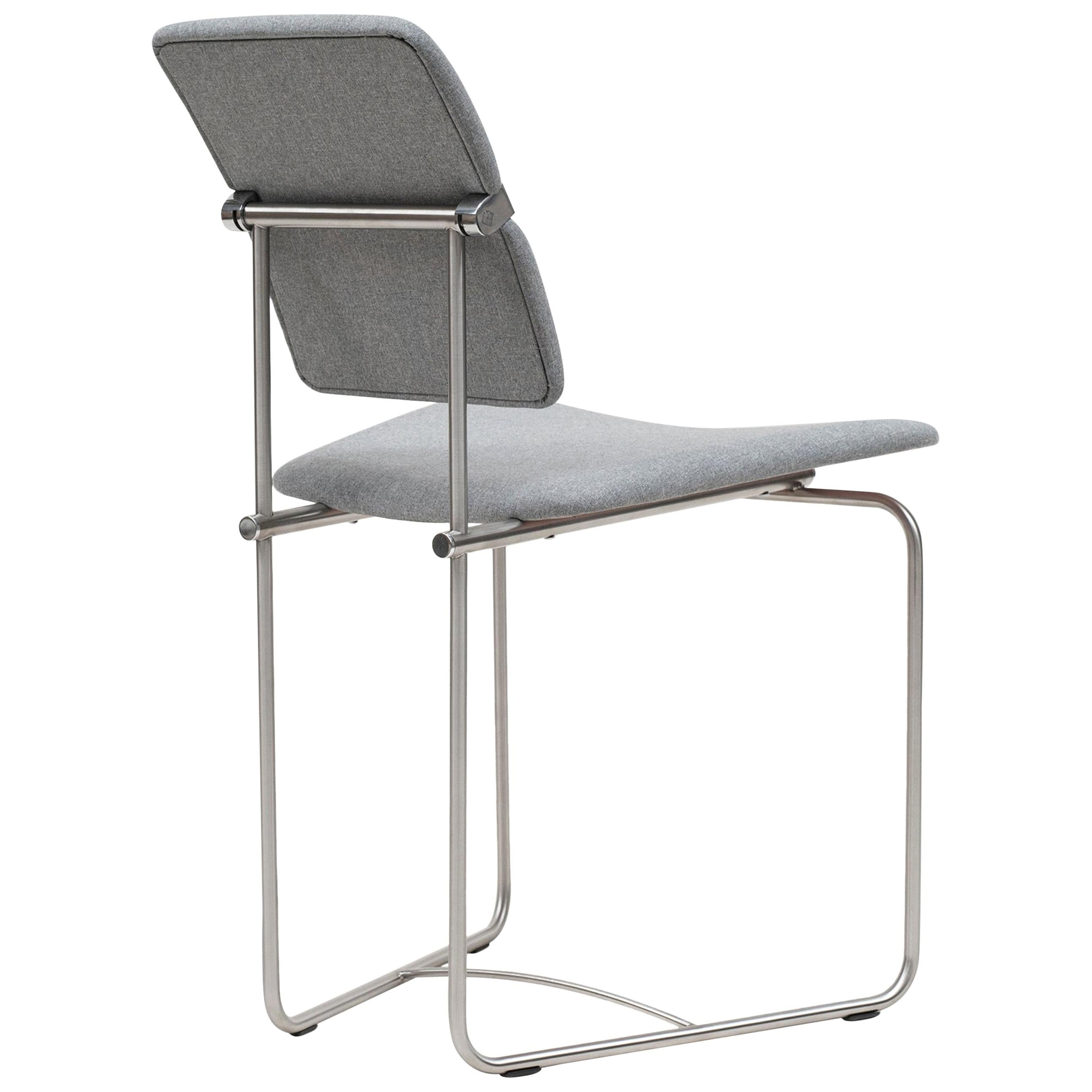 Peter Ghyczy Chair Urban Jodie 'S02' Stainless Steel Matt / Grey Fabric