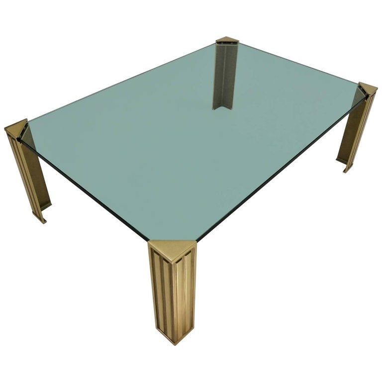Frameless Glass Coffee Table: Peter Ghyczy Coffee Table, Brass And Glass, Circa 1990s