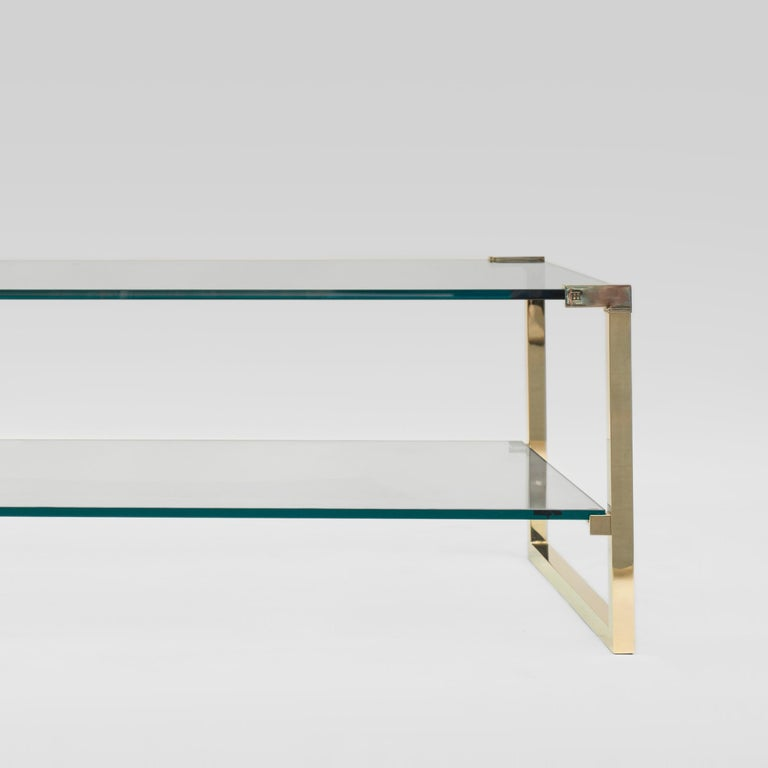 Minimalist Peter Ghyczy Coffee Table Pioneer T53D Brass Gloss / Clear Glass Minimal Style