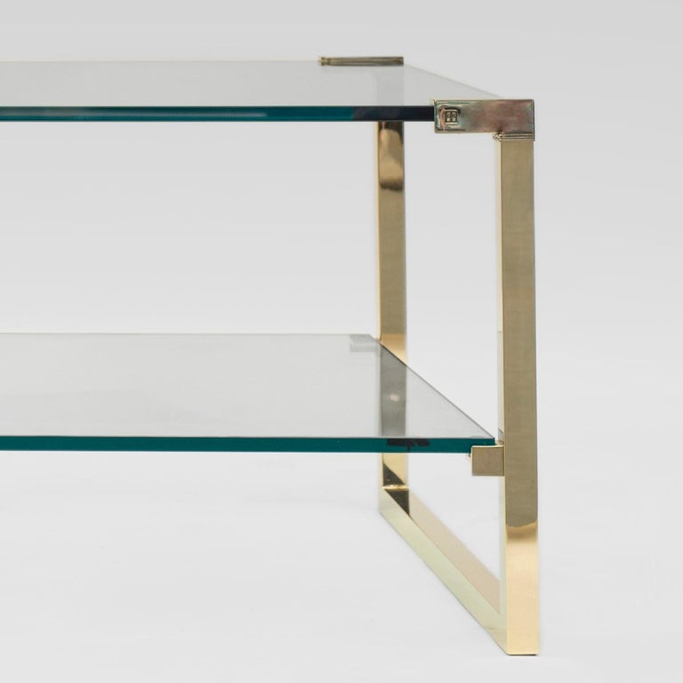 Dutch Peter Ghyczy Coffee Table Pioneer T53D Brass Gloss / Clear Glass Minimal Style