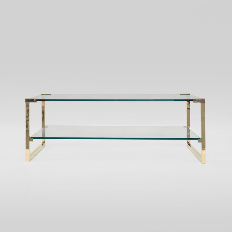Powder-Coated Peter Ghyczy Coffee Table Pioneer T53D Brass Gloss / Clear Glass Minimal Style