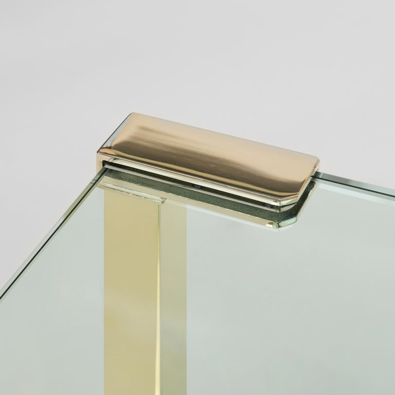 Contemporary Peter Ghyczy Coffee Table Pioneer T53D Brass Gloss / Clear Glass Minimal Style