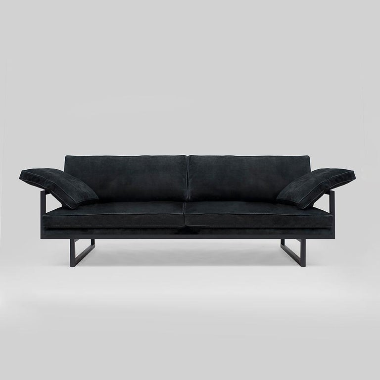 Powder-Coated Peter Ghyczy Contemporary Urban Brad GP01 Black Charcoal Sofa For Sale
