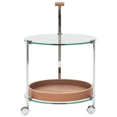 Peter Ghyczy Contemporary Tea Trolley Pioneer 'T79DS' Steel / Oak / Clear Glass