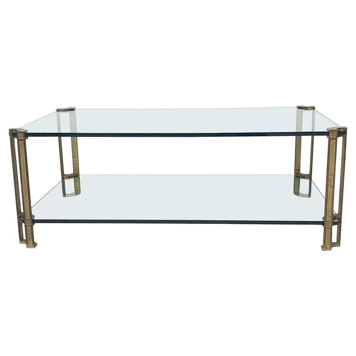 Peter Ghyczy for Ghyzcy Brass and Glass Coffee Table, 1970's