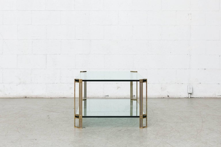 Mid-Century Modern Peter Ghyczy Glass and Brass Coffee Table For Sale