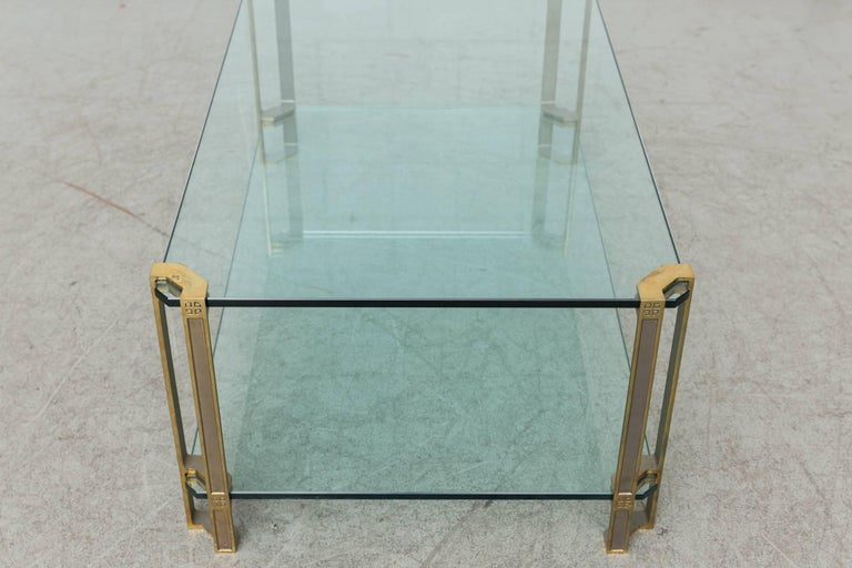 Dutch Peter Ghyczy Glass and Brass Coffee Table For Sale