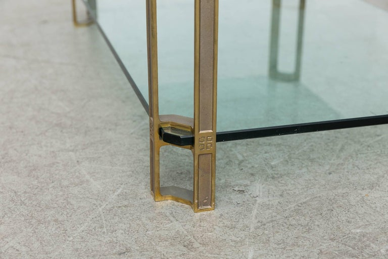Peter Ghyczy Glass and Brass Coffee Table For Sale 1