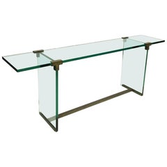Peter Ghyczy Large Glass and Bronze Console Table, 1970s