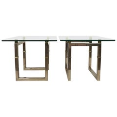 """Peter Ghyczy Metal Pair of """"BIRI"""" T29 Side Tables"""