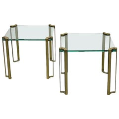 Peter Ghyczy Set Glass and Bronze Square Tables, 1970s