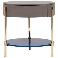 Peter Ghyczy Side Table Pioneer Alice 'T79L' Brass Gloss / Oak 2557 / RAL 5002