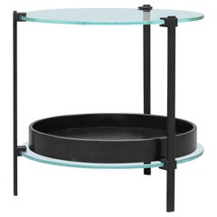 Peter Ghyczy Side Table Pioneer Amy 'T79DB' Charcoal / Oak / Glass