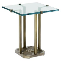 Peter Ghyczy Side Table Pioneer 'T57D' Aluminium / Oak wenge / Clear Glass
