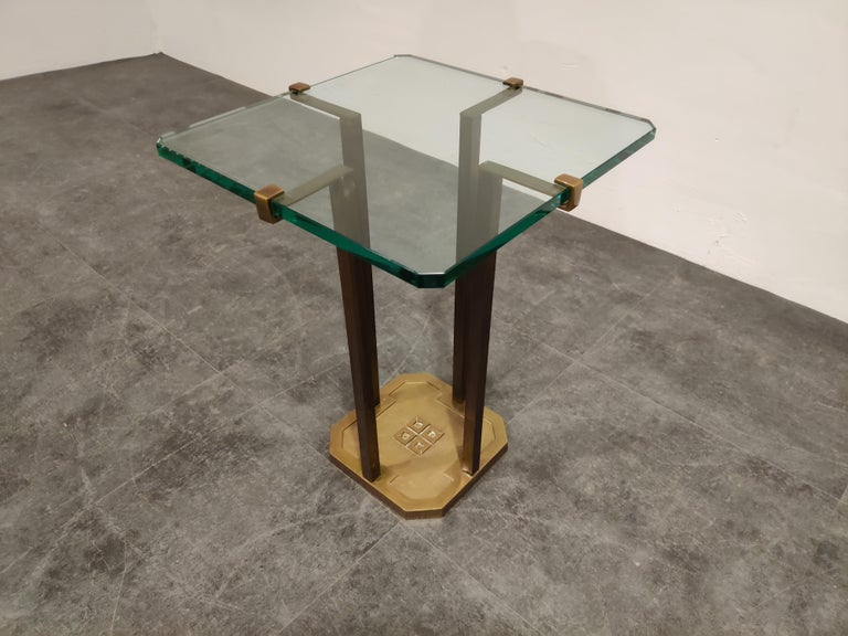 Rare model T18 side table made from cast brass legs designed by Peter Ghyczy.