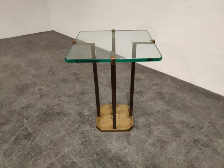 Brutalist Peter Ghyczy T18 Glass and Brass Side Table For Sale