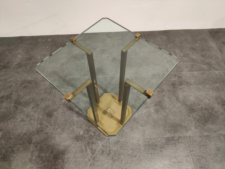 Dutch Peter Ghyczy T18 Glass and Brass Side Table For Sale