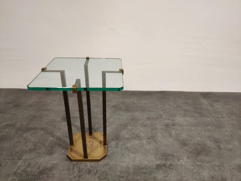 Late 20th Century Peter Ghyczy T18 Glass and Brass Side Table For Sale