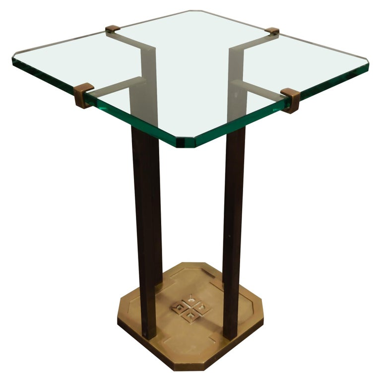 Peter Ghyczy T18 Glass and Brass Side Table For Sale