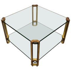Peter Ghyczy T24 Pioneer Glass and Cast Brass Square Coffee or Side Table