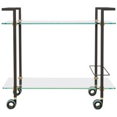 Peter Ghyczy Tea Trolley Pioneer Doris 'T63S' Ristretto/ Brass / Clear Glass