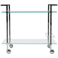 Peter Ghyczy Tea Trolley Pioneer Doris 'T63S'  Steel / Aluminum/ Clear Glass