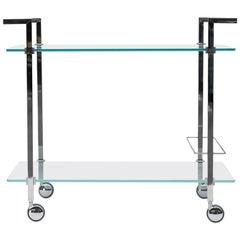 Peter Ghyczy Tea Trolley Pioneer Doris 'T63S' Steel / Aluminum/ Clear Glass