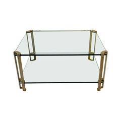 Peter Ghyczy Two-Tier Brass and Glass Coffee Table, 1970s