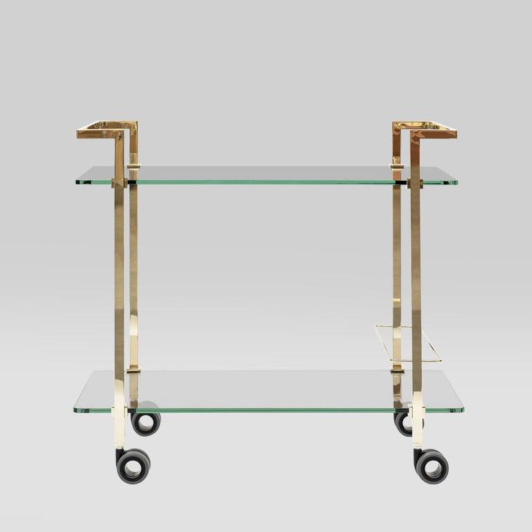 Dutch Peter Ghyczytea Trolley Pioneer Doris T63S Brass Gloss/Clear Glass For Sale