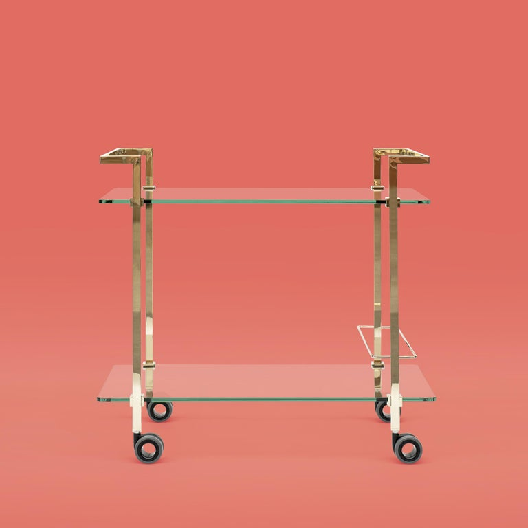 Peter Ghyczytea Trolley Pioneer Doris T63S Brass Gloss/Clear Glass In New Condition For Sale In Barcelona, Barcelona