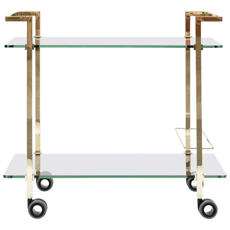 Peter Ghyczytea Trolley Pioneer Doris T63S Brass Gloss/Clear Glass For Sale