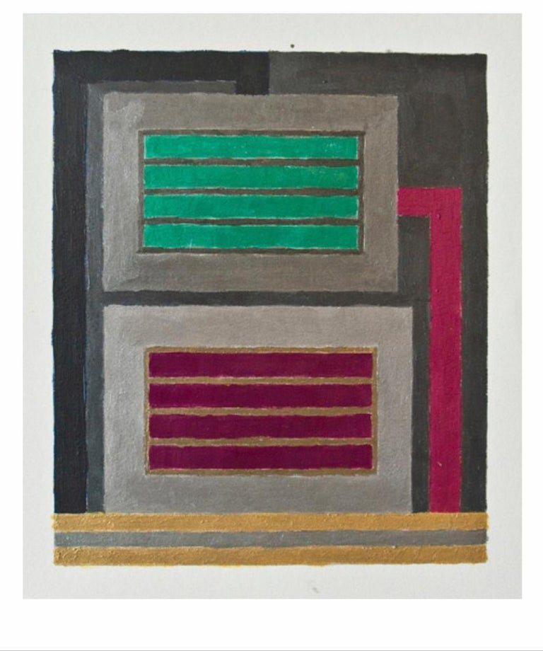 Untitled (8.28.09.6) is an original painting realized by Peter Halley in 2009.  Acrylic, metallic acrylic, pearlescent acrylic, and roll-a-tex on paper. Declaration of authenticity by the Artist.  In his artworks, Peter Halley employes a small
