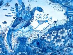 Bluebirdbotic, Cobalt Pale Blue Bird with Flowers Small Fantasy Work on Paper