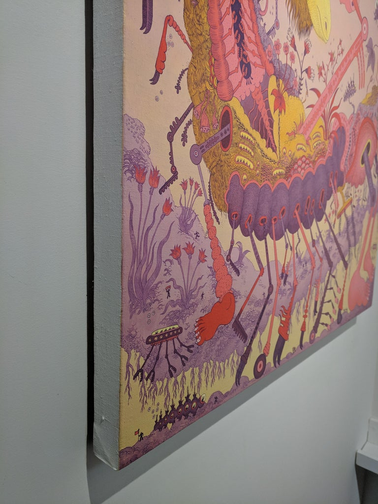 Ludditebot, Pink Lavender Yellow Futuristic Animal Robot Fantasy Landscape For Sale 2